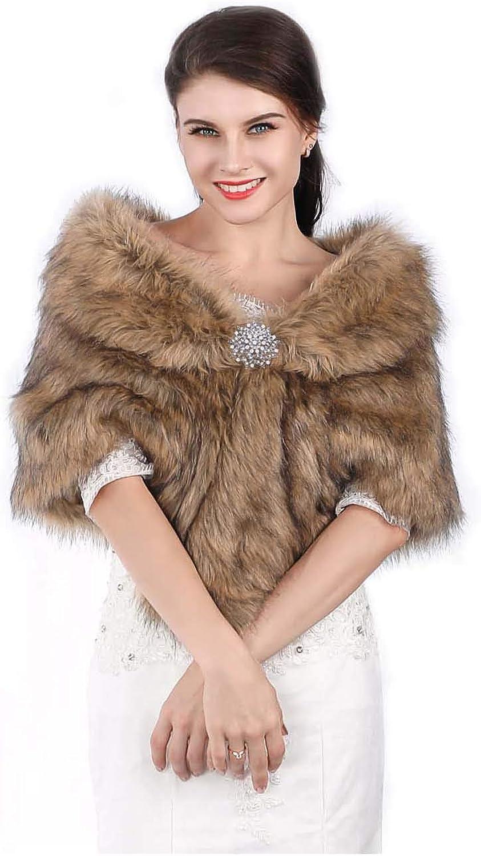 Edary Women Faux Fur Wrap...