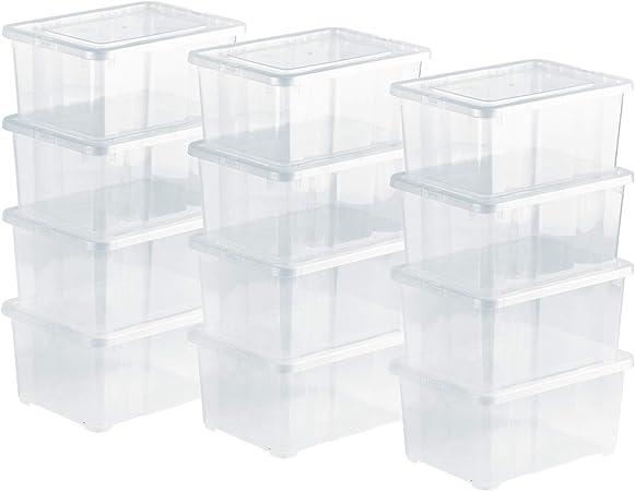 Grizzly 12 x Caja de Almacenaje con Tapa de 1,7 L - Cajón de Plástico Transparente Apilable - Caja Multiusos Organizador de Armarios para Ordenación de Ropa: Amazon.es: Hogar