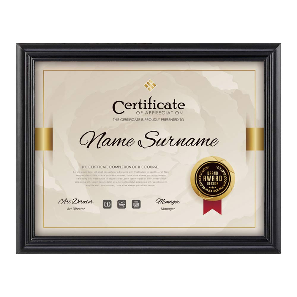 RPJC Document Frame/Certificate Frames Made of Solid Wood High Definition Glass and Display Certificates 8.5x11 Inch Standard Paper Frame Black by RPJC