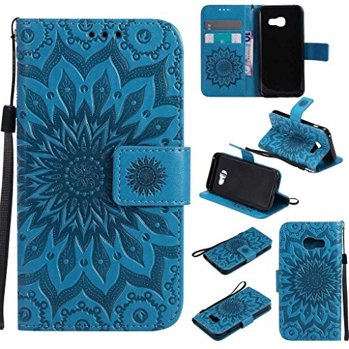 Galaxy A3 2017 Case, KKEIKO® Galaxy A3 2017 Flip Leather Case [with Free Tempered Glass Screen Protector], Shockproof Bumper Cover and Premium Wallet Case for Samsung Galaxy A3 2017 (Blue)