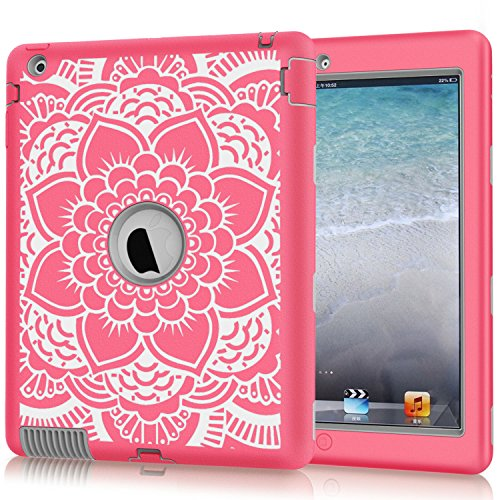 iPad 2 Case, iPad 3 Case, iPad 4 Case, Hocase Shockproof Silicone Rubber Bumper+Hard Shell Full-Body Protective Case for Apple iPad 2nd/3rd/4th Generation w/ Retina Display - Pink Flower / Grey