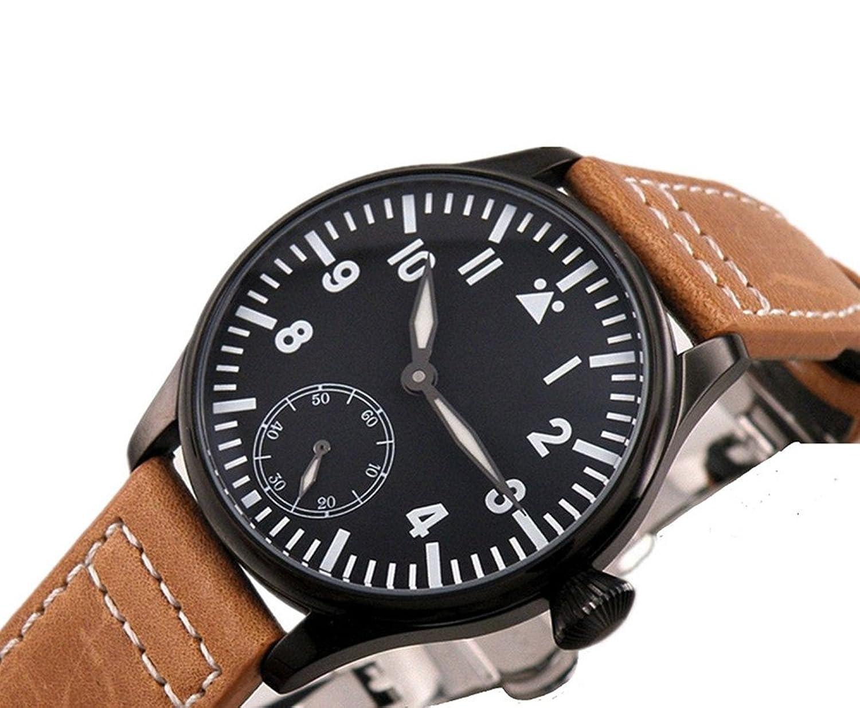 PARNIS 47 mm schwarz Zifferblatt Nummer Hand Aufziehen 6498 Herren Handgelenk Marke Uhr