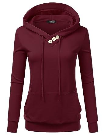 4f117dddeeb72d NINEXIS Women's Long Sleeve Button V-Neck Sweatshirts Pullover Hoodie  Burgundy S
