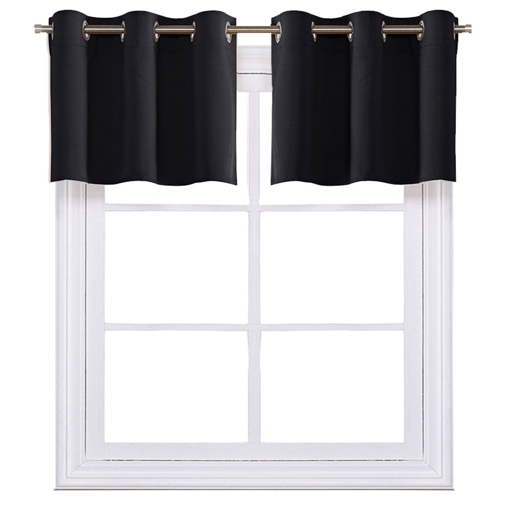 NICETOWN Black Small Window Valances Curtains - Thermal Insulated Home Decor Blackout Grommet Tier Curtains Drapesv for Basement Windows (42W by 18L Inches,2 Pieces)