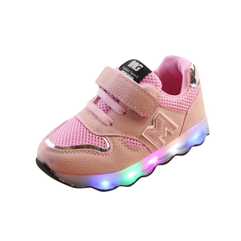 Dinglong Children LED Light up Luminous Sneakers - Toddler Kids Hook & Loop Mesh Sport Anti Slip Trainers Baby Shoes - Age 1-6 Years Old Child UK Size 4.5-9