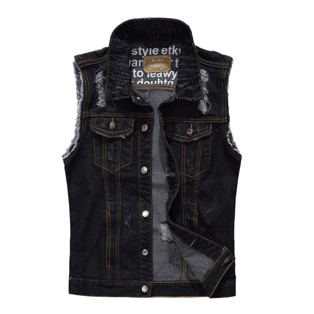 Allywit-Mens Plus Size Sleeveless Casual Slim Fit Denim Vest Waistcoat Jacket Jeans Coat Vest Black by Allywit-Mens