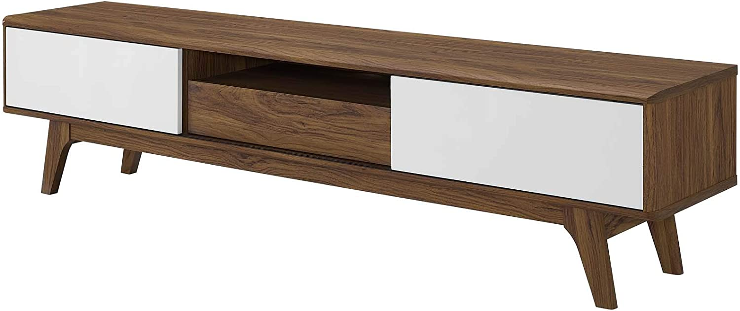 America Luxury - Storage Modern Contemporary Living Lounge Club Lobby Media TV Stand Console Table, Wood, Natural Brown White