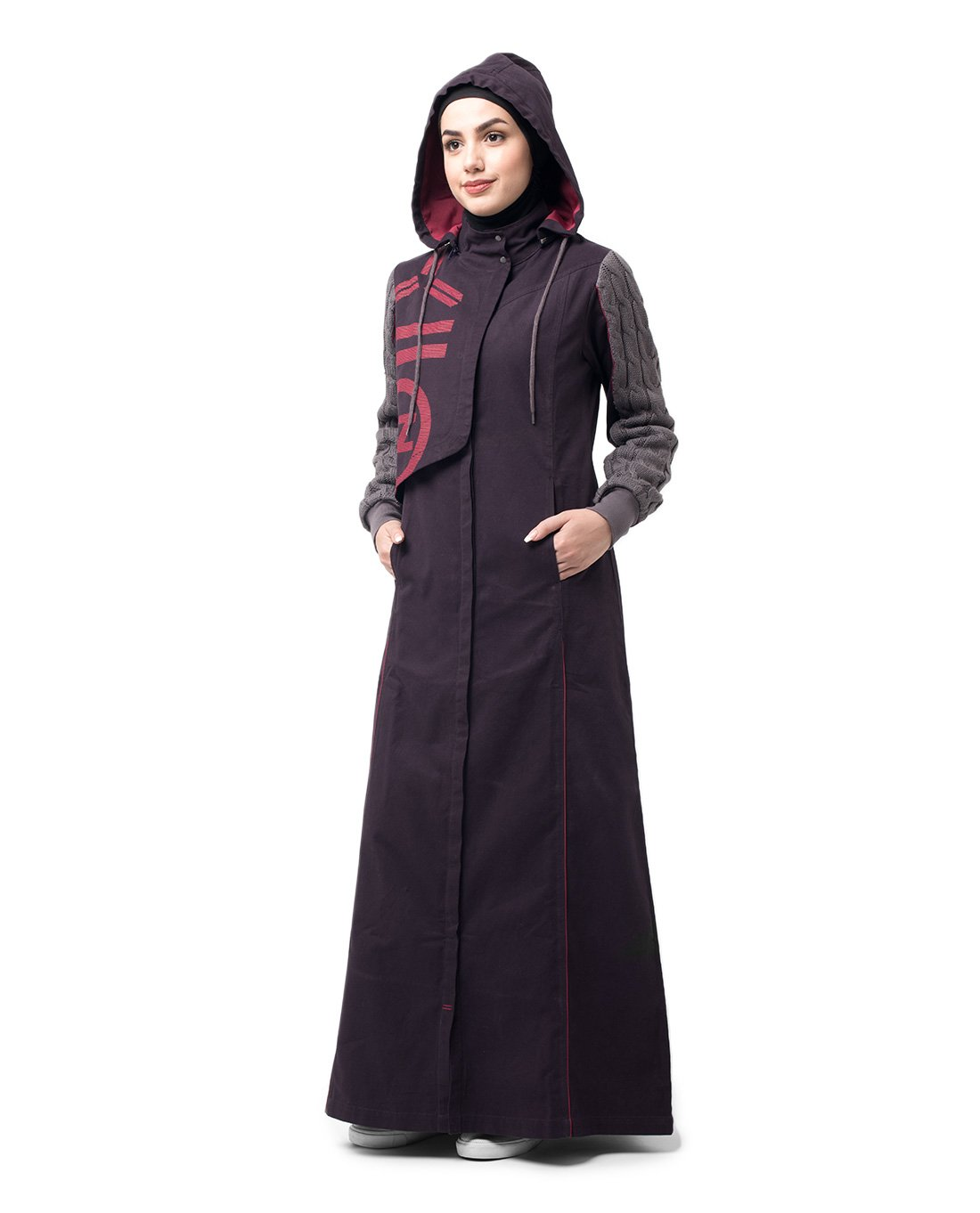 Silk Route Burgundy Red Winter Knit Printed Cotton Sporty Maxi Dress Jilbab XXLarge 60