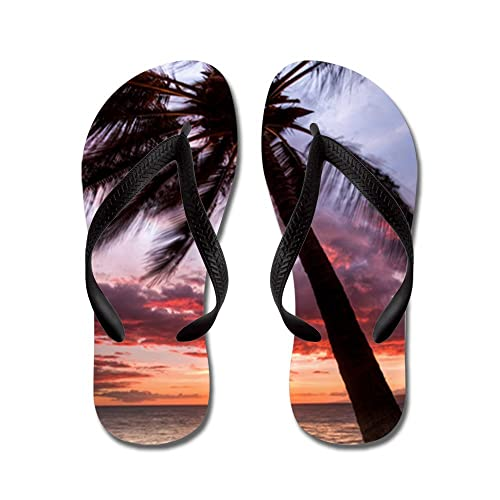 d817a9ab CafePress - Maui Hawaii Coconut Palm Tree Sunset - Flip Flops, Funny Thong  Sandals,