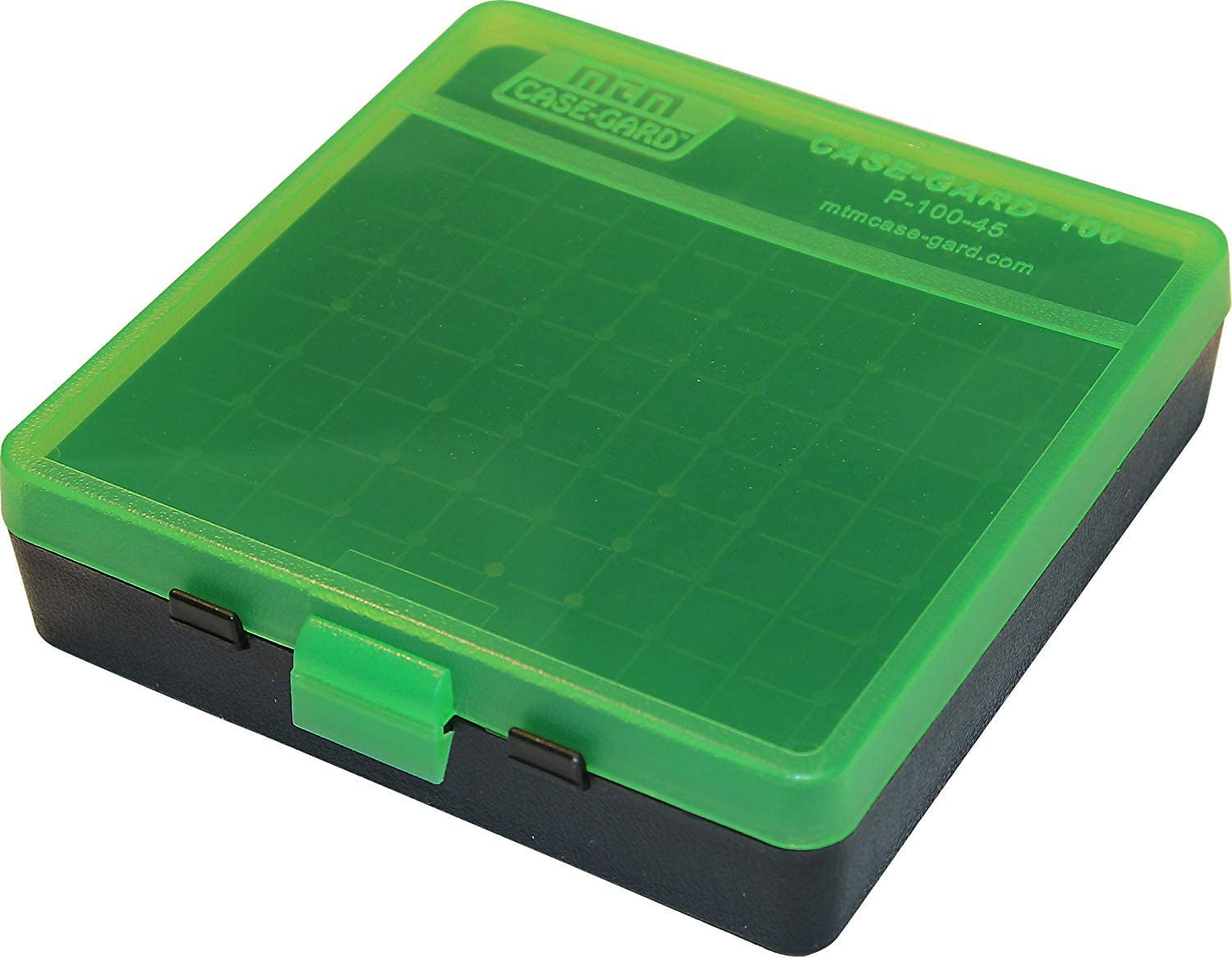 MTM Plastic Ammo Box, Clear Green/Black 100 Round 40 S&W / 45 ACP