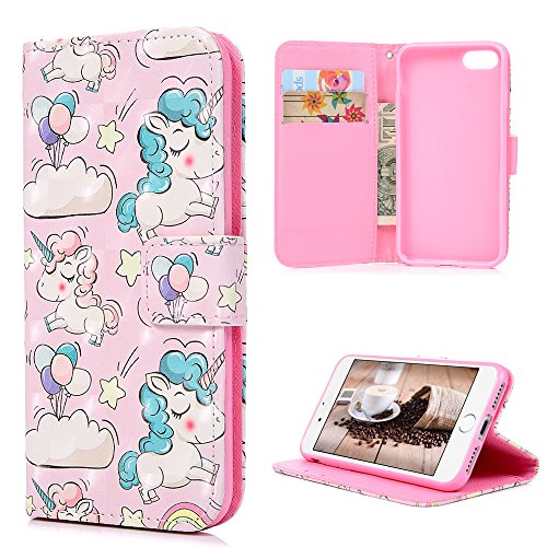 iPhone 7 Case, iPhone 8 Case, 3D Painted Bling Cute Balloon Unicorn Colorful PU Leather Wallet Soft TPU Inner Flip Folio with ID Card Slots Anti-Fade Dustproof Cover Skin by YOKIRIN