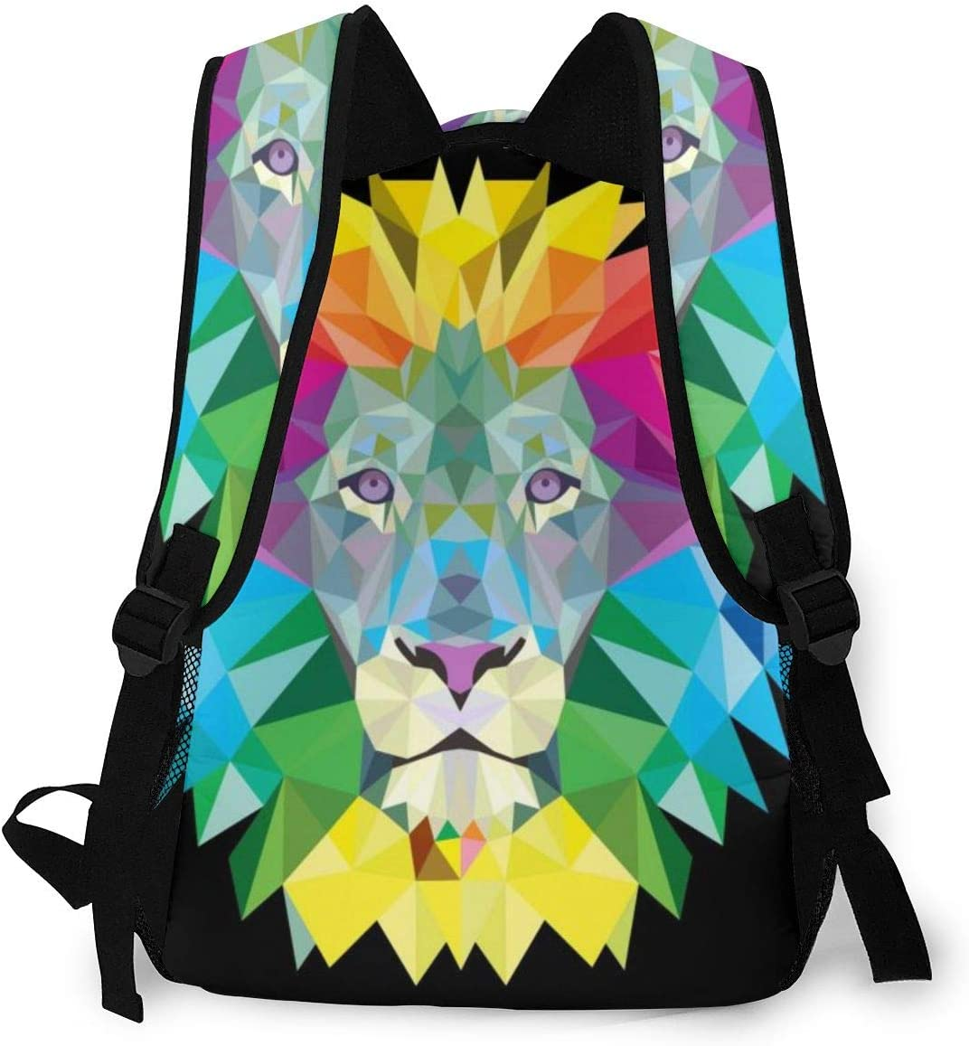 Fashion Backpack,Colorful Hair Lion Canvas Laptop Bag,Casual School Daypack For Travel Business College With Black Leather Stitches