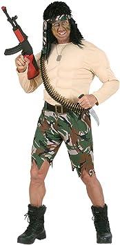 Disfraz de combatiente muscular Rambo traje muscular soldados ...