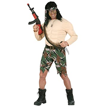 Disfraz de soldado con los músculos Rambo muscle traje ...