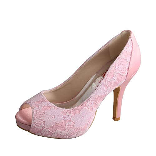 3793bf4949a Wedopus MW333 Women Peep Toe High Heels Prom Pumps Satin and Lace ...