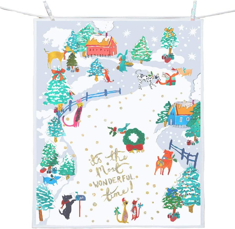 Set Of 2 Christmas Holiday Forest Snowman snowmen Kitchen Dish Hand Tea Towels