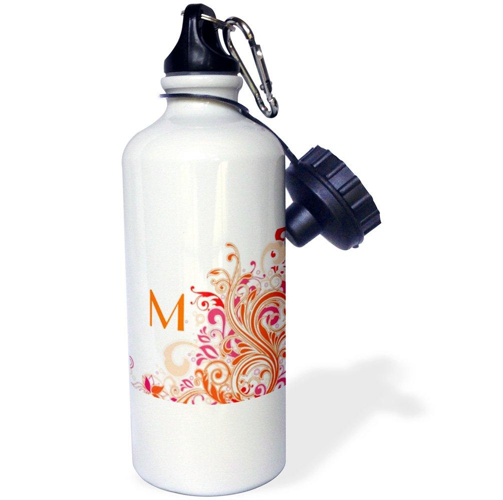 White 3dRose wb/_62519/_1Letter M On Pretty Pink n Orange Swirls Sports Water Bottle 21 oz