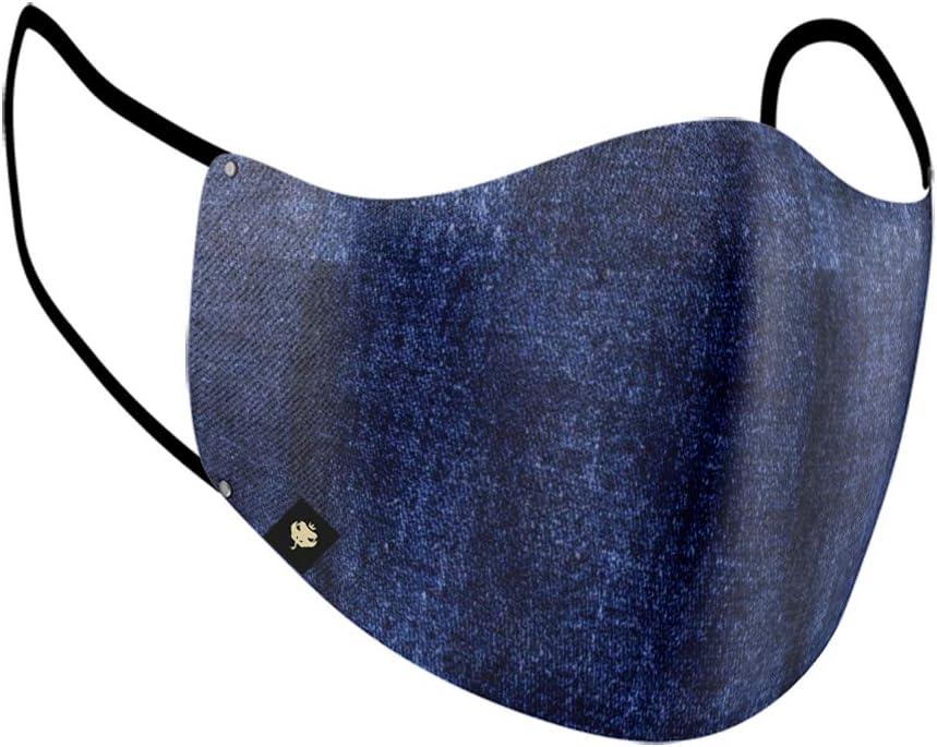 Máscara Estampada Modelo Ninja de Tecido 100% Algodão Dupla Proteção Forro TNT - Jeans - Lavável e reutilizável