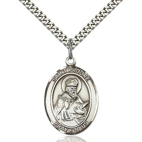 Amazon.com: St. Isidoro De Sevilla hand-crafted Oval Medalla ...