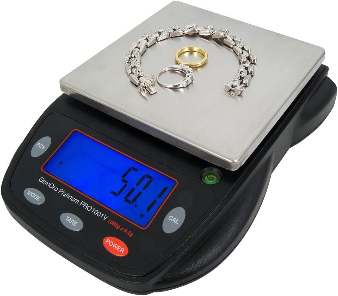 GemOro Platinum PRO1001V Countertop/Portable Scale, 1000g x 0.1, Black