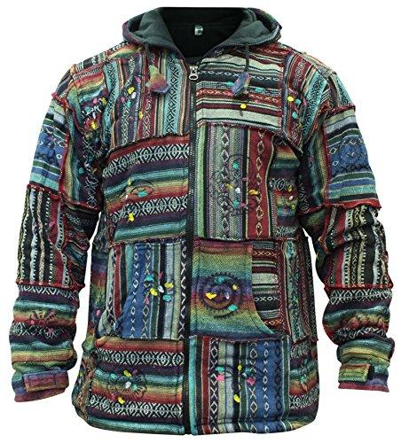 Patchwork Hippie Clothes - Shopoholic Fashion Mens Outstitched Patchwork Hippie Jacket [L]