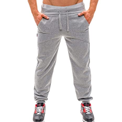 deb77cc2c63a Saihui_Men Pants da Uomo, Pantaloni Lunghi Sport Fitness Tuta Uomo Casual  Tasche Sport Jogger Pantaloni