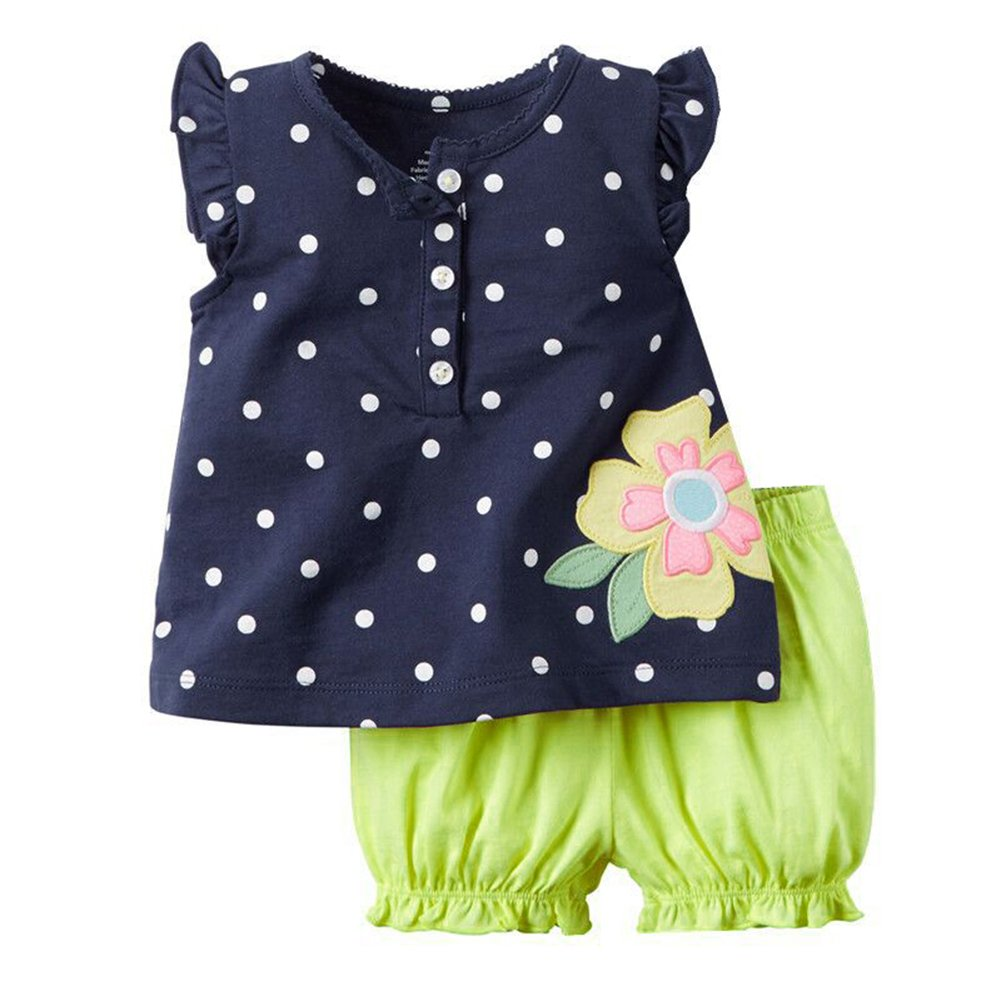 BOBORA Ensemble Bebe Filles Polka Dots Adorable T-shirt Bloomer