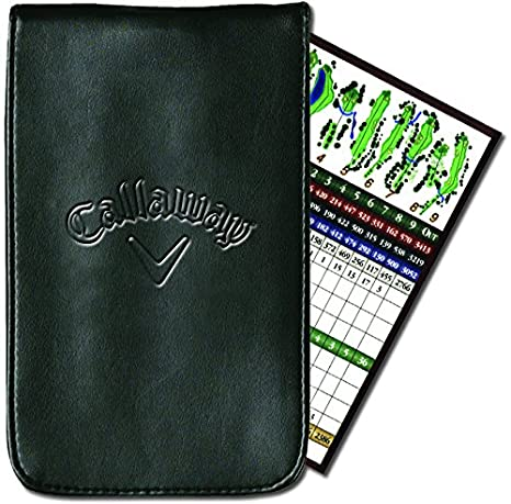 Callaway C40104 - Funda de Cuero para Tarjetas de puntuación de Golf, Color Negro
