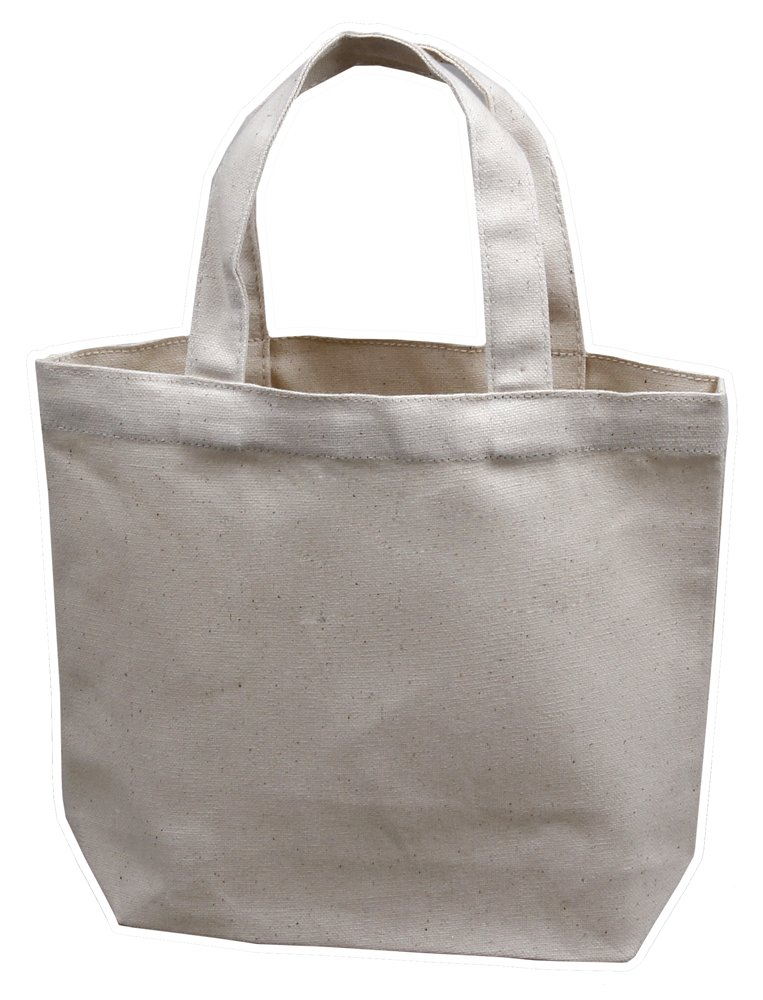 Small Tote Bag 11''x9''x3'', Natural Color, 100% Cotton Canvas - Pack of 12