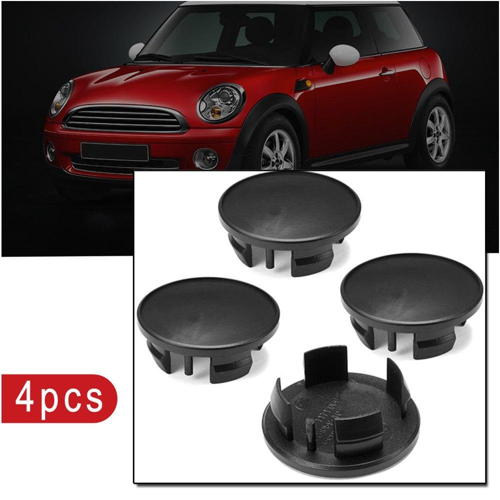 TR.OD 4pc 54mm Black ABS Car Emblem Badge Wheel Rim Center Hub Caps For Mini Cooper