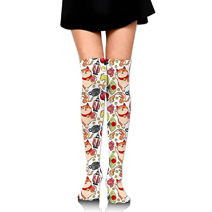 8f60c9bd4 Image Unavailable. Image not available for. Color  Japanese Lucky Charm  Talisman Print Casual Knee High Socks ...
