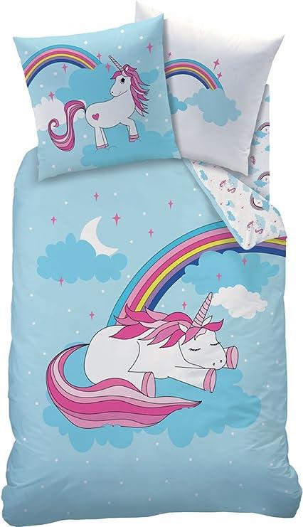 Matt \u0026 Rose Set di biancheria da letto Unicorn Sky Bleu Blanc Wende effetto  blu bianco