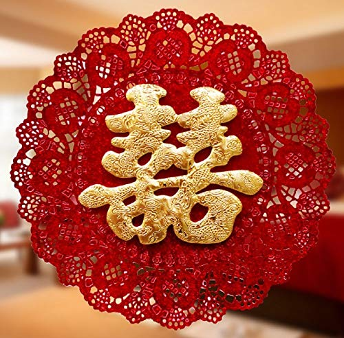 Double Shooting Flash - Dmeiling Chinese Traditional Wedding Decoration Supplies Red Non-Woven Double Happiness Cut - Gold Flash - Heart-Shaped Lace Hi New Wedding Room Decoration 2 Pcs