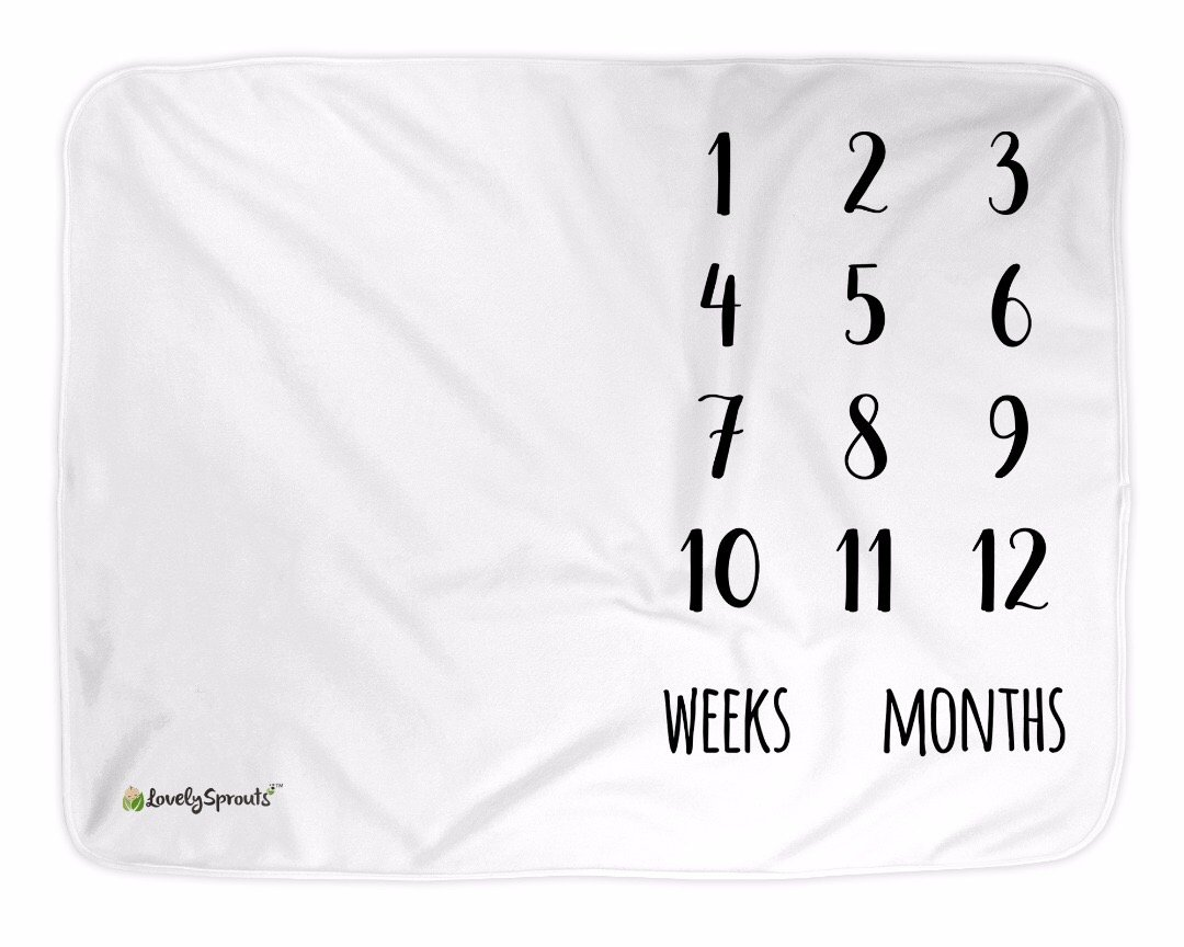 LovelySprouts Premium Fleece Monthly Milestone Blanket | Will Not Wrinkle or Fade Like Muslin Blankets | Large 60'' x 40'' Size | Perfect for Baby Boy or Girl Photo Props