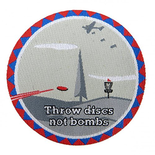 Throw Discs Not Bombs Iron-On Disc Golf Patch