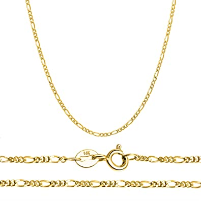 c90ee98b81fc5 Orostar 14K Solid Gold 2.3mm Figaro 2 + 1 Link Italian Chain Necklace, 16
