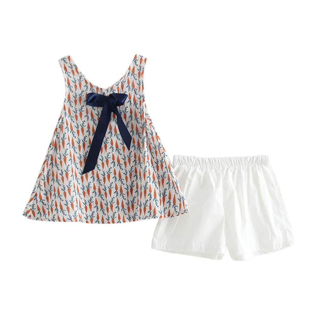 MiyaSudy Toddler Baby Girl Clothes Set, Little Girls Cotton Sleeveless Shirt Tops + White Shorts Outfits