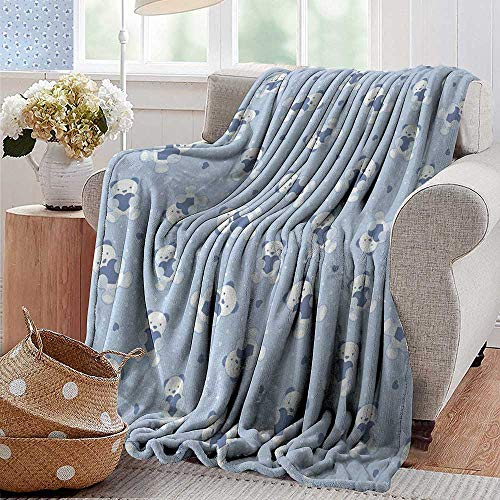 XavieraDoherty Swaddle Blanket,Boys,Teddy Bears on Blue Backdrop Holding Hearts Baby Shower Theme Toddler,Baby Blue Cadet Blue White,Lightweight Extra Soft Skin Fabric,Not Allergic 70
