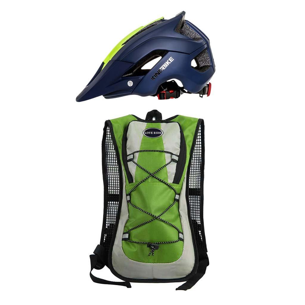 monkeyjack 5lアウトドア自転車サイクリングスポーツ水分補給水バッグリュックサックバックパックグリーン+サイクリングヘルメット超軽量自転車ヘルメット安全integrally-molded )ダークブルー   B076Q8WCBT