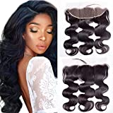 Maxine Free Part Ear to Ear 13x4 Lace Frontal Closure with Baby Hair Brazilian Virgin Human Hair Body Wave Full Lace Frontal Clsoures Bleached Knots 14inches Natural Color