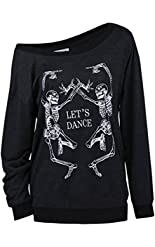 LUFENG Women's Halloween Off Shoulder Skeleton Printing Funny T-Shirt Long Sleeve Sweatshirts Pullover Tops