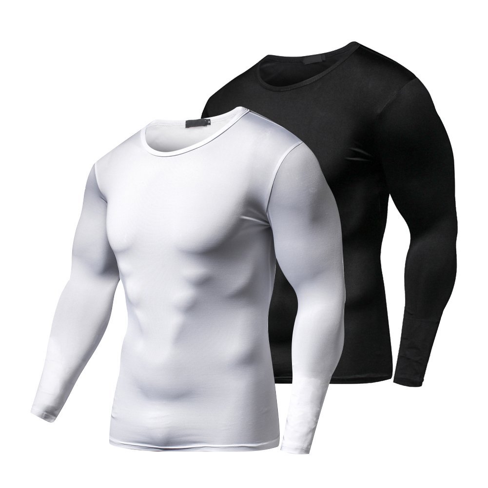 FITIBEST Men's Long Sleeve T-Shirt Baselayer Cool Dry Compression Top - 2 Pack
