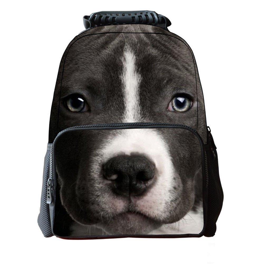 Ohmais Enfant Garçon Fille 3D Sac à dos animaux Sac à main imprimé animal sac d'école Cartable (chien A) 8P6Sy