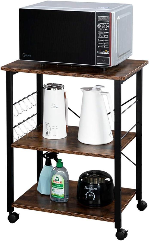 Home Furnishing Plaza Bakers Rack 3-Tier Kitchen Utility Microwave Oven Stand Storage Cart Workstation Shelf Dark Brown Top White Metal Frame Utility Shelves for Kitchen Living Room Bathroom