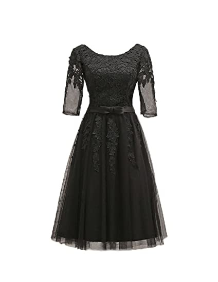 Stillluxury Illusion Half Sleeve Midi Evening Dresses Women 1950s Vintage Party Gown Black Size 6
