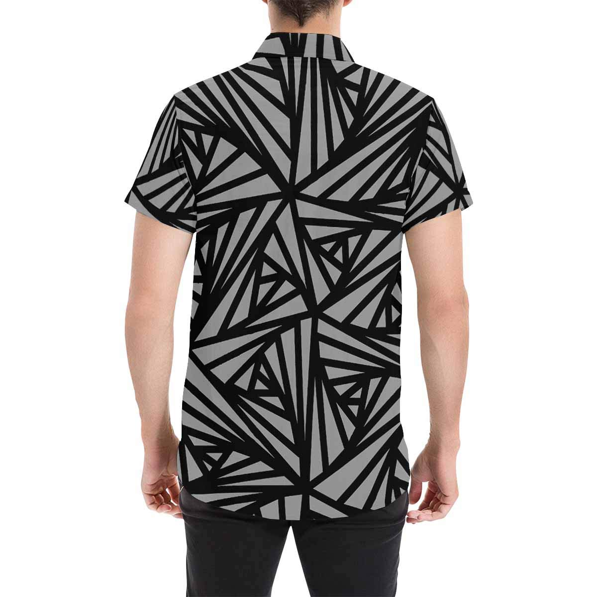 InterestPrint Black Geometric Stand Collar Casual Regular Fit Short Sleeve Shirt for Men
