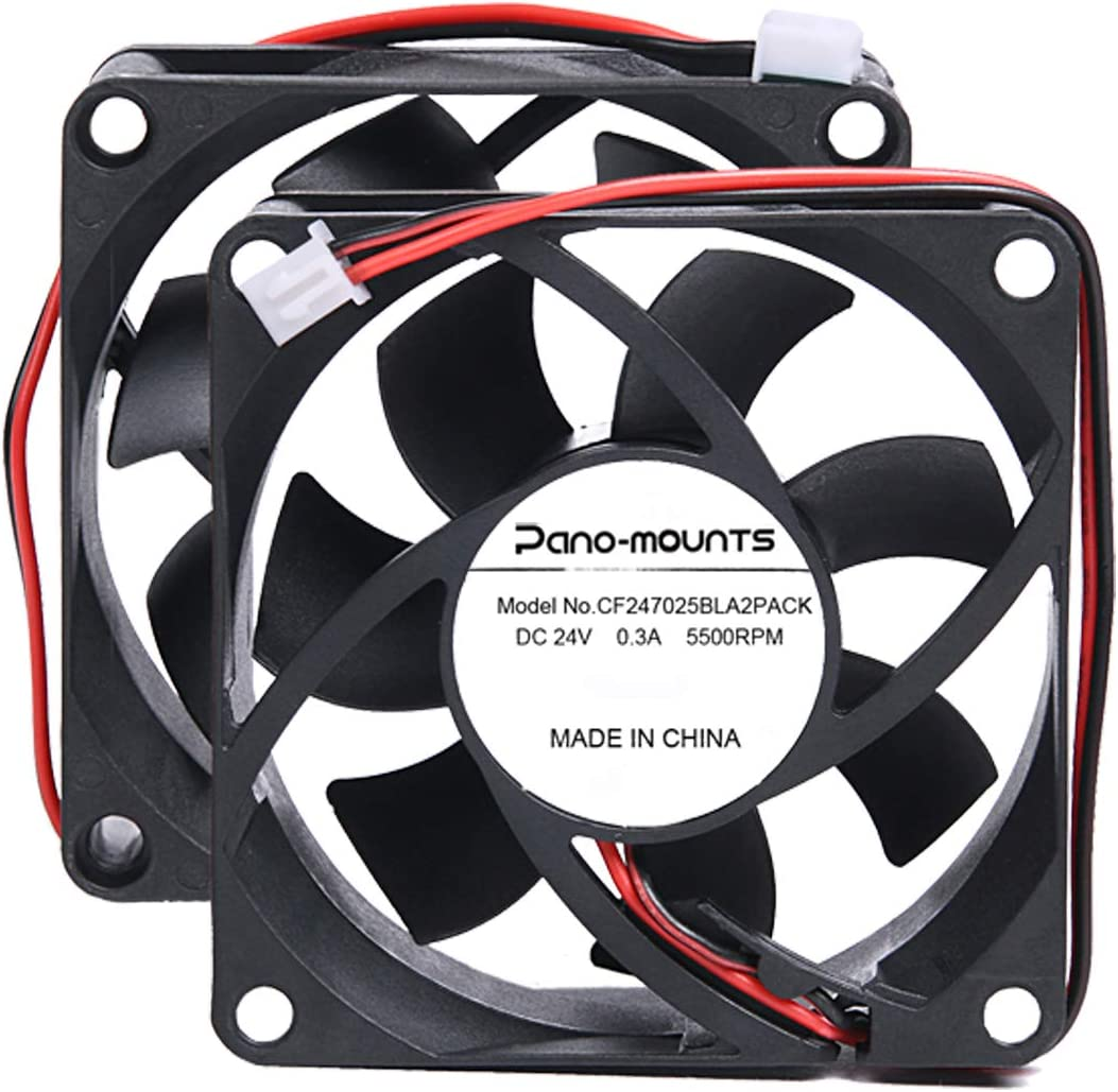 70mm 24V PC Cooling Fan - PANOMOUNTS CF7025 High Speed 70mm 25mm 2Pin Computer CPU Case Blower Fan Low Noise 5500RPM 2-Pack