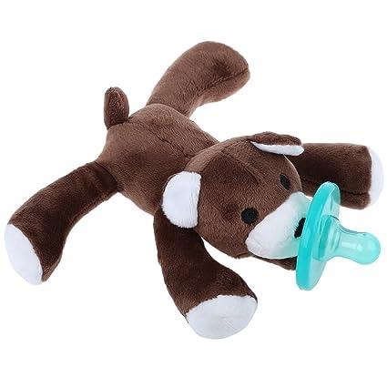 Bebé niño chupete tetina de silicona Animal Peluche suave ...