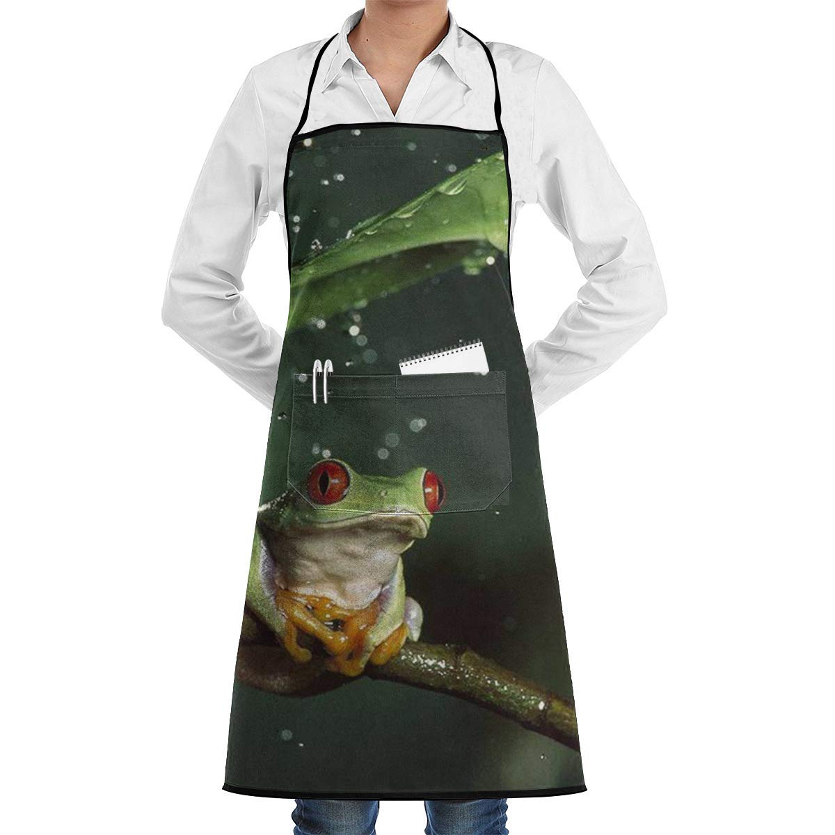 Liliynice Deluxe Cooking Aprons, Nature Rain Hylidae Jungle Animals Frogs Commercial Chef Apron with Pocket Unisex Restaurant Kitchen Bib Apron Machine Washable Perfect for Cooking Baking