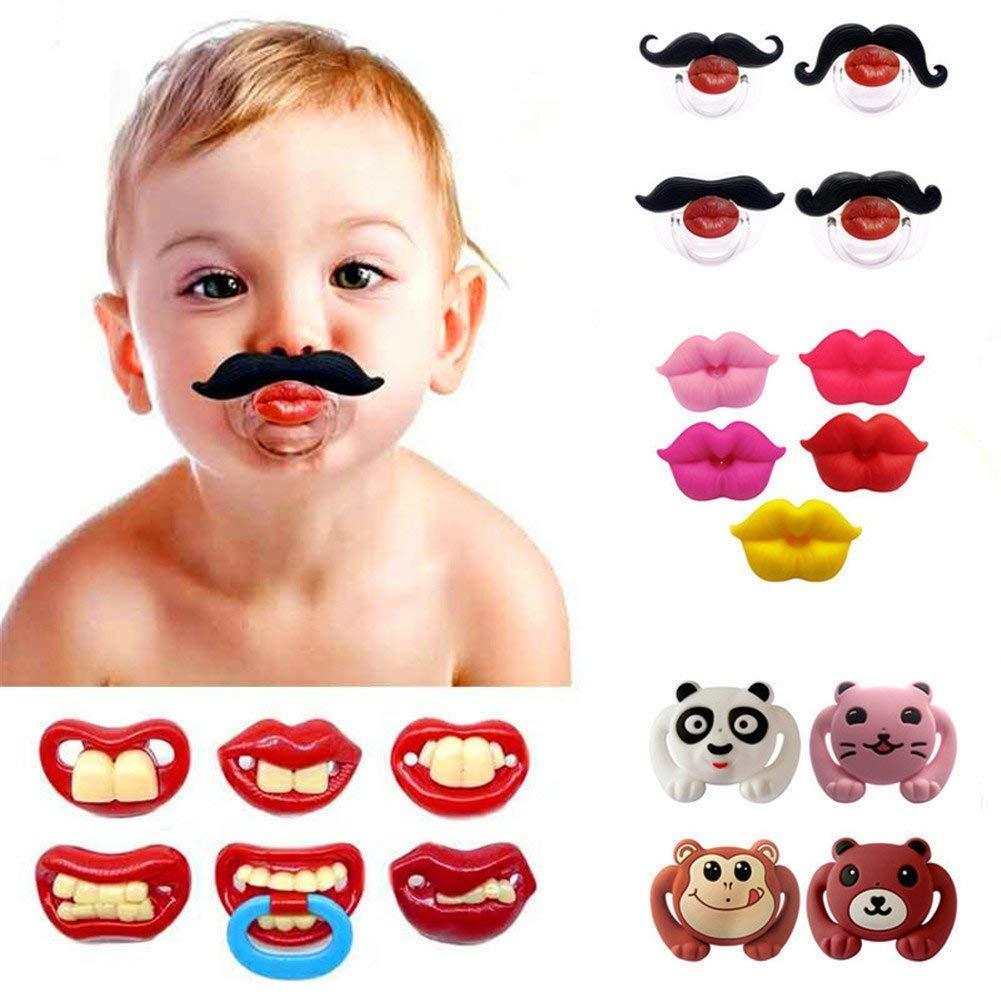 Scelet Divertido bigote de bebé chupetes suave silicona lindo chupete diseño con labios de beso divertidos dientes recién nacidos caballero bigote
